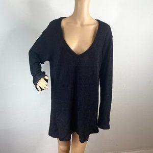 CP Shades Black V-neck Ribbed Tunic Sweater M